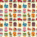 Seamless house pattern cartoon vector illustration Royalty Free Stock Image