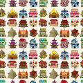 Seamless house pattern cartoon vector illustration Royalty Free Stock Images
