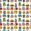 Seamless house pattern cartoon vector illustration Stock Image