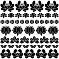 Seamless Hungarian black folk art pattern - floral Kalocsai embroidery