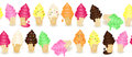 Seamless ice cream border Stock Photos