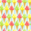 Seamless Ice Cream Cones Background Stock Photos