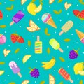 Seamless ice cream pattern. Colorful cartoon background with fruit and ice cream Royalty Free Stock Photo