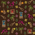 Seamless iconic tiki hawaii pattern Stock Image