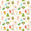 Seamless illustrated Christmas themed line style vector pattern Royalty Free Stock Photo