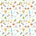 Seamless illustrated fitness themed line style vector pattern Royalty Free Stock Photo