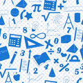 Seamless illustration with formulas and charts on the topic of mathematics and education, a blue silhouettes of icons on the backg Royalty Free Stock Photo