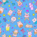 Seamless illustration with funny cartoon pigs on a blue background