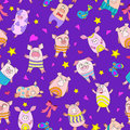 Seamless illustration with funny cartoon pigs on a purple background
