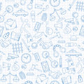 Seamless illustration with hand drawn icons on the theme of law and crimes, blue contour icons on the clean writing-book sheet i