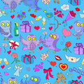 Seamless illustration with owls in love Valentine`s day. Seamless pattern with hand drawn owls and icons on the theme of Valentine