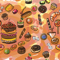 Seamless illustration of a set of sweets
