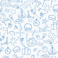 Seamless illustration with simple hand-drawn icons on the theme of summer and vacation, blue contour icons on the clean writing-