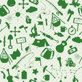 Seamless illustration with simple icons on the theme of camping and traveling, a green silhouettes of icons on the background of