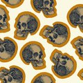 Seamless skull pattern beige background