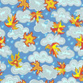 Seamless illustration on the theme of autumn,maple leaves ,clouds and rain drops on blue background Royalty Free Stock Photo