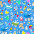 Seamless illustration on the theme of childhood and newborn babies, baby accessories and toys, simple color stickers icons on blue