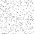Seamless illustration on the theme of childhood and newborn babies, baby accessories and toys, simple contour icons, black contour