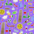 Seamless illustration on the theme of journey in the country of Italy, simple colored icons patches on a purple background