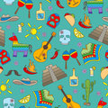 Seamless illustration on the theme of recreation in the country of Mexico, colorful icons on green background