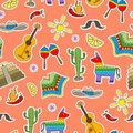 Seamless illustration on the theme of recreation in the country of Mexico, colorful patches icons on a orange background