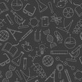 Seamless illustration on the theme of science and inventions, diagrams, charts, and equipment,light simple contour icons on a da