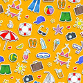 Seamless illustration on the theme of summer holidays in hot countries, simple Colored icons stickers on a orange  background Royalty Free Stock Photo