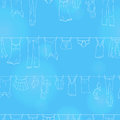 Seamless illustration on the theme of washing and cleanliness, various clothes , a light contour icons on blue background