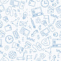Seamless illustration on the topic of information technology and earn money online, simple hand-drawn contour icons, blue contour
