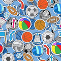 Seamless illustration of various sports balls, arrows and flags Royalty Free Stock Photo