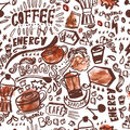 Seamless ink doodle coffee pattern on white background with watercolor stains, hand drawn vector illustration Royalty Free Stock Photo