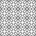 Seamless Islamic Pattern Black and White Vector Illustration