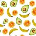 stock image of  Seamless isolated watercolor fruits orange, avocado, banana pattern on white background