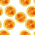 Seamless isolated watercolor orange slices pattern on white background