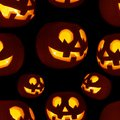Seamless Jack-o'-lanterns pumpkin pattern Royalty Free Stock Photo