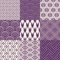 Seamless japanese pattern set Royalty Free Stock Photo