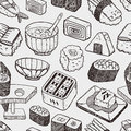 Seamless japanese sushi pattern cartoon vector illustration Stock Photo