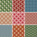 Seamless Japanese Traditional Red Pattern Set Royalty Free Stock Photo