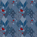 Seamless jeans denim patchwork pattern Stock Photos