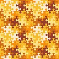 Seamless jigsaw puzzle pattern of autumn or camouflage colors Royalty Free Stock Photo