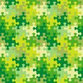 Seamless jigsaw puzzle pattern of spring, summer or camouflage colors Royalty Free Stock Photo