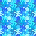 Seamless jigsaw puzzle pattern of water or winter blue colors Royalty Free Stock Photo