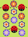 Seamless jolly pattern with Ladybug and flowers Stock Photos