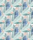 Seamless jungle pattern with banana leaves and pink tropical flowers in three green tones
