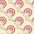 Seamless kawaii cat and goal with arrow pattern