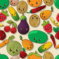 Seamless kawaii pattern with fruits and vegetables Stock Image