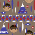 Seamless kids cute American indian native retro pattern Royalty Free Stock Photo