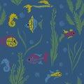 Seamless kids ocean fish illustration mosaic background pattern