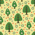 Seamless kids pattern with apple trees and flowers Royalty Free Stock Photo