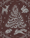 Seamless knitted background - christmas tree, rabbit, squirrel, mouse, deer. Royalty Free Stock Photo